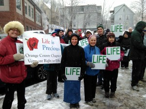 Getting ready to march-Between Zelma and Gina is Barb.  I recognize her shoes!  March for Life 1-16-2015 Photo by Bob Orleck